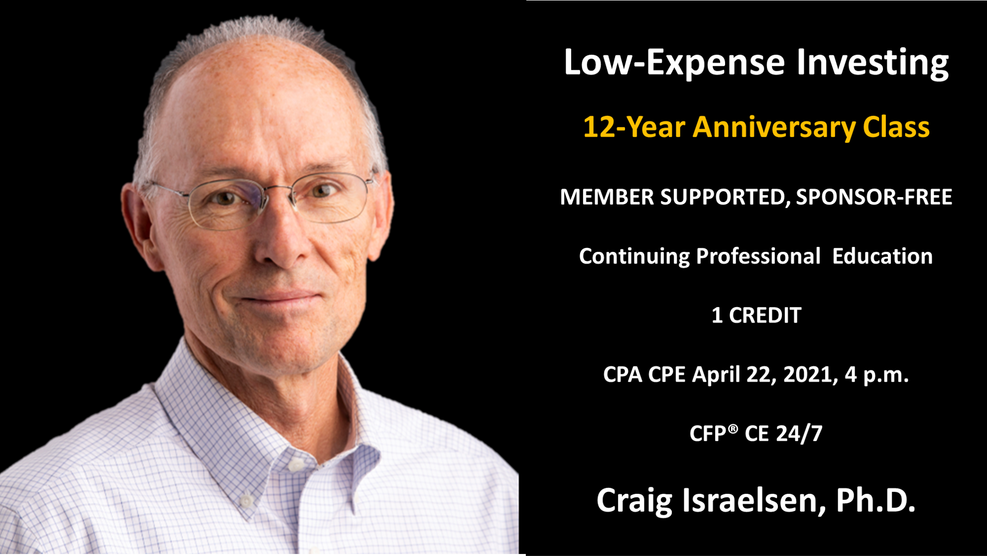 Low Expense Investing For Professionals Course, Craig Israelsen, Ph.D.